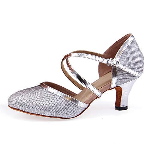 Naudamp Mujeres Niña Zapatos Latinos de Baile Zapatillas de Baile de salón Performance Correa Cruzada Criss Calzado de Danza Modelo