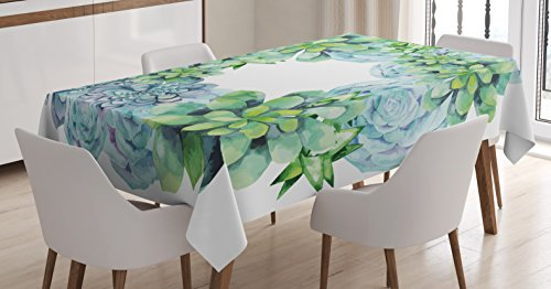 Ambesonne Succulent Tablecloth by, Watercolor Succulent Wreath Circular Design Bridal Wedding Theme, Dining Room Kitchen Rectangular Table Cover, 60 W X 84 L inches, Green Lilac Almond Green