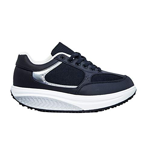Scarpe Dimagranti Pechino Donna Rassoda Glutei Sportive Fitness Ginnastica Jogging Posturali per Camminare Comode Sneakers Sport (Blu Argento, Numeric_38)