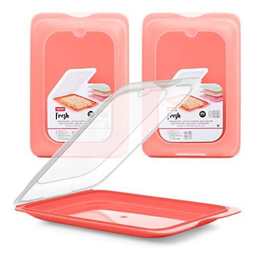 PracticFood Tatay Fresh System - Hochwertige Aufschnitt-Boxen, Frischhaltedose für Aufschnitt. Optimale Aufbewahrung im Kühlschrank, 3 Stück, Maße 17 x 3.2 x 25.2 cm