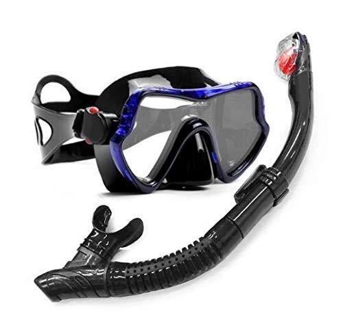 Zjcpow Buceo con máscara de Buceo y Profesional Tubos Anti-Niebla Gafas Gafas de Buceo Natación Fácil Tubo de la respiración Conjunto, Duradero (Color: Azul) xuwuhz (Color : Black Blue)