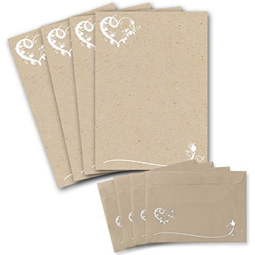 25 Briefbogen-Sets DIN A4 - Briefpapier in Kraftpapier-Look mit blumigem Herz-Ornament - mit passenden Briefumschlägen DIN C6 in taupe Briefpapier bedruckbar ideal für Hochzeitseinladungen