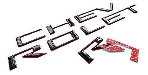 BDTrims Tailgate 3D Domed Raised Letters Compatible with 2019 2020 Silverado Models (Black with Red Outline)