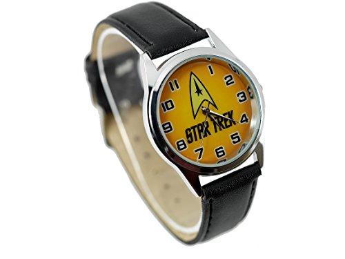 TAPORT® Unisex Uhr Analog Quarzwerk mit Leder Armband Star Trek rund schwarz