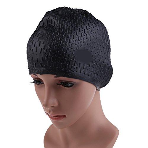 Vktech Silicone Swimming Long Hair Cap Ear Wrap Waterproof Hat for Women and Men