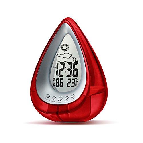 LIGHTOP Eco-Friendly Clock 4 in 1 Wasserbetriebene Uhr mit Weckfunktion Tischuhr (24-Stunden Mode) mit Datum und Temperatur Anzeigen für Schlafzimmer Haus Büro Wohnzimmer (Rot)
