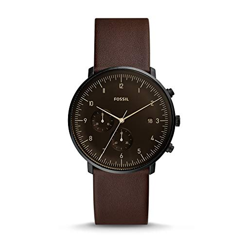 Fossil Mens Chronograph Quartz Watch with Leather Strap FS5485