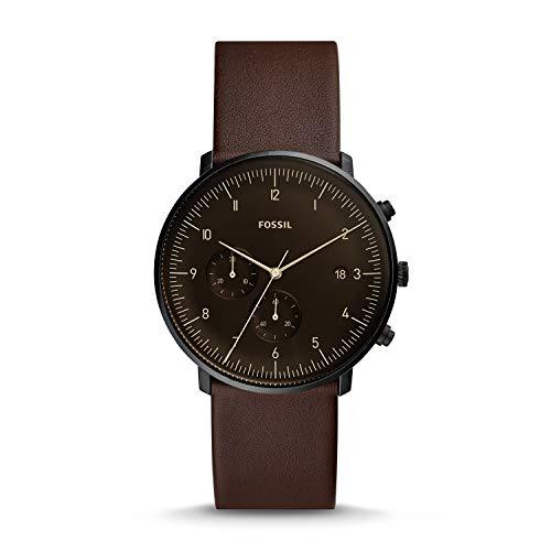 Fossil heren chronograaf kwarts horloge met lederen armband FS5485
