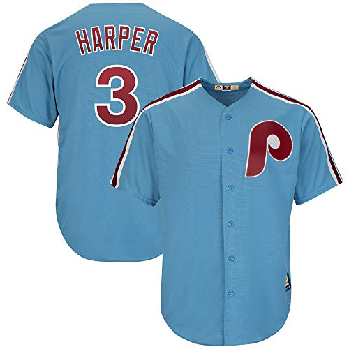 Bryce Harper Philadelphia Phillies Blue Youth 8-20 Cool Base Cooperstown Jersey (Medium 10/12)