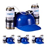 Relaxdays 4 x Party Trinkhelm, Helm mit Schlauch, für 2 Dosen Bier, Spaßartikel Fasching u. Fußball, lustiger Bierhelm, blau