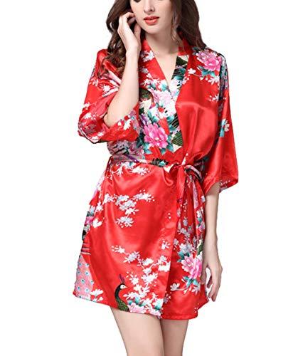 Crystallly Pijamas Bata Kimono Mujer Suave Satén Ropa De Noche del Estilo Simple Traje De Baño De Las Mujeres con El Pavo Real Y La Flor Kimono Bata Bata De Seda Pijamas Sueltas De Estilo Corto