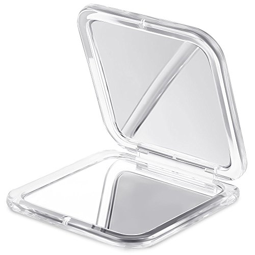 Jerrybox Make up Taschenspiegel 1X/10X Vergrößerungsspiegel Klappbarer Zweiseitiger Kosmetikspiegel Mini Faltbarer Schminkspiegel, Eckig, Silber