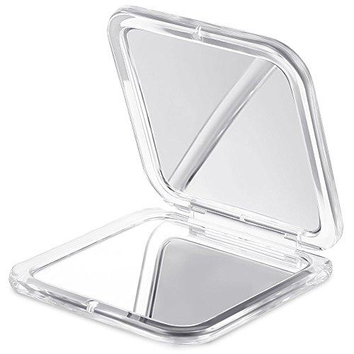 Jerrybox Miroir de Poche, Double Face, Miroir Compact, Grossissement 10x et 1x, Miroir à Main, Miroir de voyage