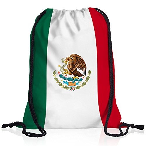 style3 Mexiko Turnbeutel Rucksack Tasche Mexico Flagge WM EM Sport Beutel Festival Fahne Uni Schule Bunt