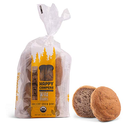 Happy Campers Wild Gluten Free Hamburger Buns, Organic, Non-GMO, 4 Rolls Per Pack (Pack of 4)