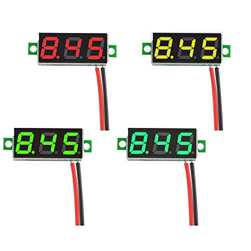 GTIWUNG 4 Stück Mini Digital Voltmeter, DC 0,28 Zoll 2-Draht Spannungsprüfer, DC 2,5-30 V Mini Digital Voltmeter Messgerät Tester Led-anzeige Verpolungsschutz und Genaue Druckmessung, 4 Farben