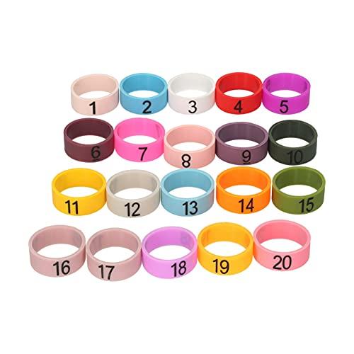 Festnight 20 PCS Mikrofon Farbige ID-Ringe Nummer 1 bis 20 Mehrfarbiger weicher Silikonring zum Unterscheiden verschiedener Mikrofone (zufällige Farbe)