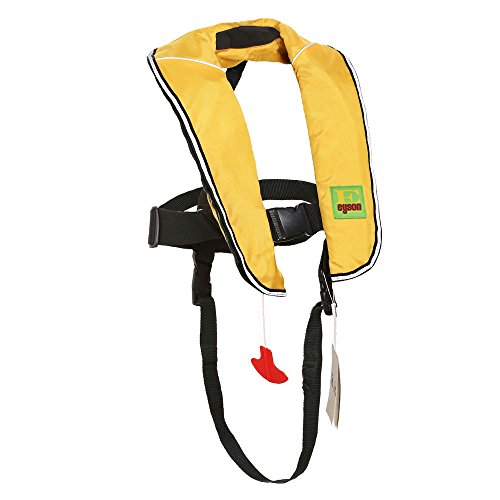 Premium Quality Automatic / Manual Inflatable Life Jacket Lifejacket PFD Life Vest Inflate Survival Aid Lifesaving PFD for Children Youth Kids (Yellow)