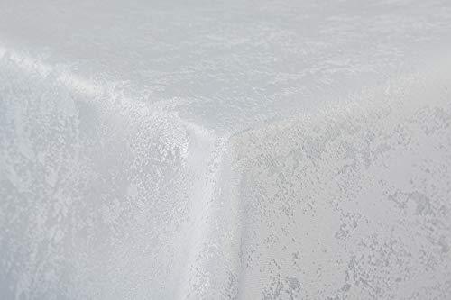 First-Tex Tischdecke Damast Jacquard Brilliant Meliert 130x220 eckig in weiß mit gerader Saumkante