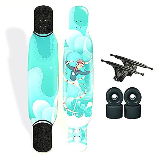 F&FSH 47'Longboard Deck Complete Cruiser, (Magiermuster) 7 Lagen Maple Longboard Skateboard Als Geschenk Für Erwachsene Kinder Teenager Anfänger Mädchen Jungen Keine Montage Erforderlich