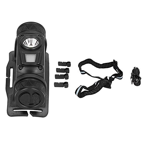 Chiwe Linterna Frontal superbrillante, aleación de Aluminio Luz Frontal LED Negra portátil para Correr para Acampar para Andar en Bicicleta para Caminar
