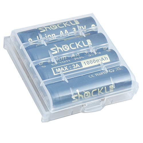 Shockli AA Size Rechargeable 3.7V Batteries Button top unprotected (Battery Size: Diameter: 14mm, Height: 50mm)-4 pack-Ideal for Lumintop Tool AA, NICRON N7, ThruNite Archer