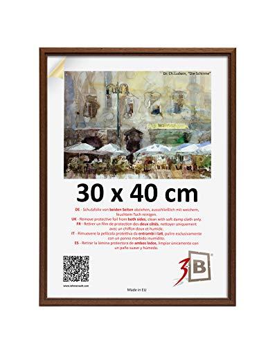 3B Marco de Fotos Jena - marrón Oscuro - 30x40 cm - Marco de Madera, Foto, parojo con Vidrio de poliéster (lámina de plástico)