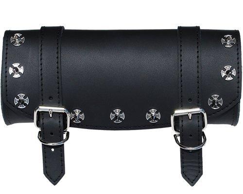 La Rosa Design Universal Front Fork Tool Bag - Black w/ Iron Cross Spikes Black Iron Cross Saddlebags