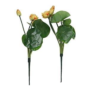 BESTOYARD 2Pcs Fake Lotus Flower Artificial Lotus Flower Bouquet Realistic Silk Flowers for Indoor Outdoor Wedding Home Office Decoration(White)