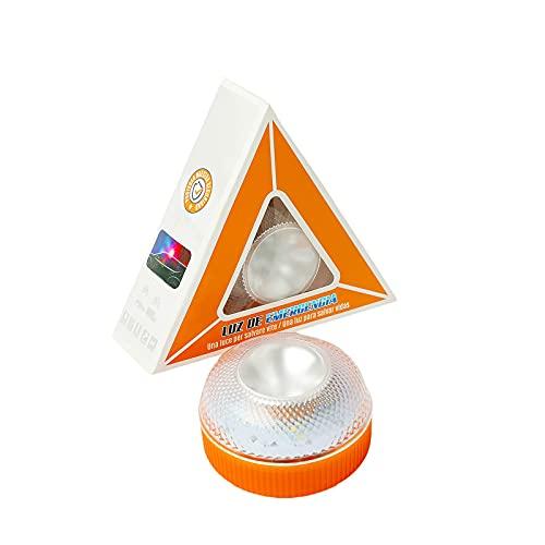 GirarYou Luces de Advertencia de Emergencia V16 Homologadas DGT Lámpara Señales Luminosas Multifuncional Luz de Seguridad Luz LED de Emergencia para Coche Vehículos Carretera,Naranja (sin Bat, 1pcs)