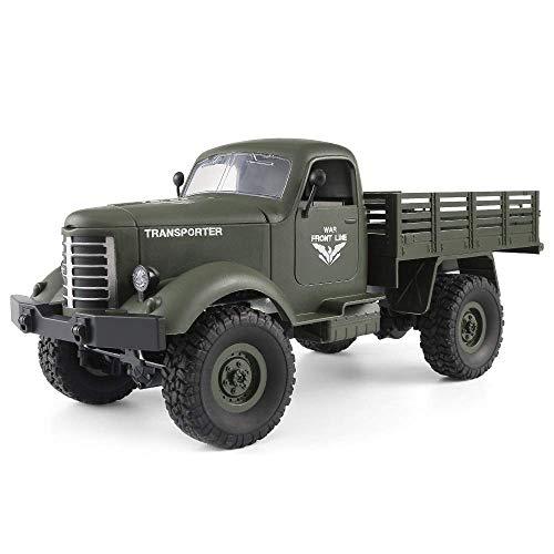 WGFGXQ Cars Control Remoto Coche Juguetes 1:16 2.4g Control Remoto 4WD Seguimiento Todoterreno Camión Militar Coche RTR Simulación Eléctrico Exterior RC Coche Todoterreno (Color: Verde)