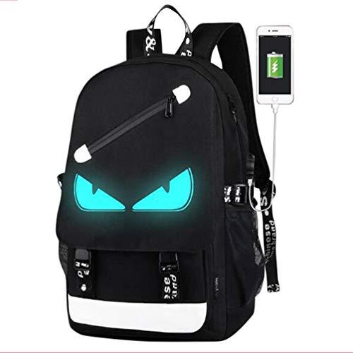 Withu Kyd unisex Cool Boys Girls anime luminoso uomini donne Outdoor zaini da viaggio zaino Zaino zaino a tracolla scuola borsa per PC portatile, con porta di ricarica USB, unisex, USB Black Devil