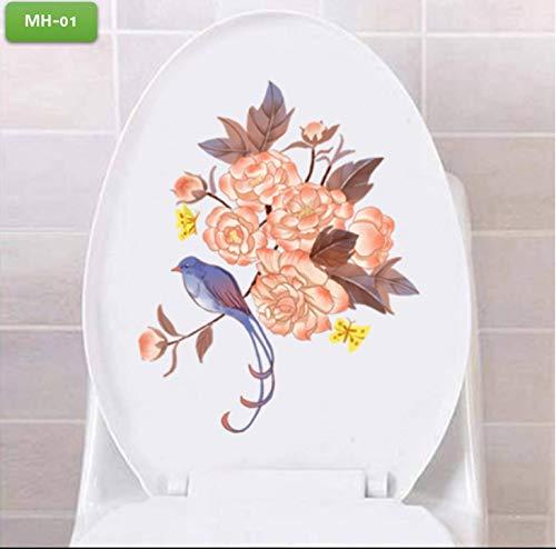 Autocollants de décoration de toilettes Stickers muraux Cute Funny Cartoon Salle de bains Étanche auto-adhésif Papier-MW série 3 PC/Lot