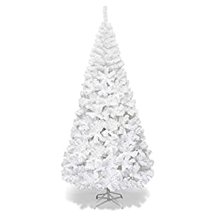 Goplus Artificial Christmas Tree Xmas Pine Tree with Solid Metal Legs Perfect for Indoor and Outdoor Holiday Decoration (White, 5 FT) by Superbuy