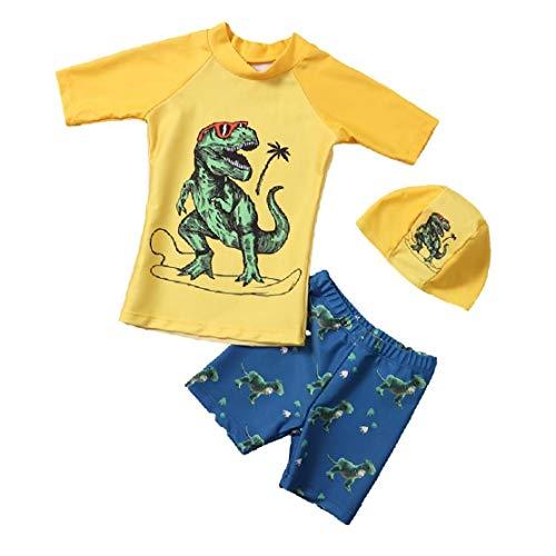 Ohomr Niños Traje de baño para niños con Pantalones del Traje de baño de Split Manga Larga Traje de baño Traje de Dinosaurio 2pcs Gafas XL