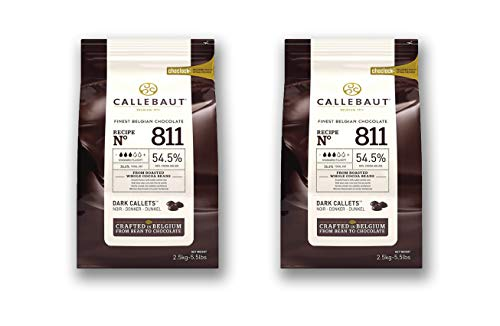 Callebaut Couverture Cacao Dark Baking Belgian Semisweet Chocolate Callets 2 pack. 54.5% Cacao. Recipe N811. (5.5 Lbs x 2; 5 kg)