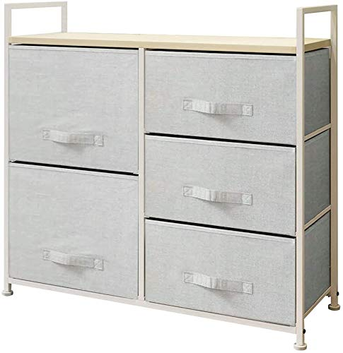 Sanery Modern Design Chest of Drawers, Oak Wooden Cabinet Sideboard Cupboard with White Metal Frame and 5 Light Grey Linen Fabric Drawers Storage Organiser Unit (2 + 3 Drawer)