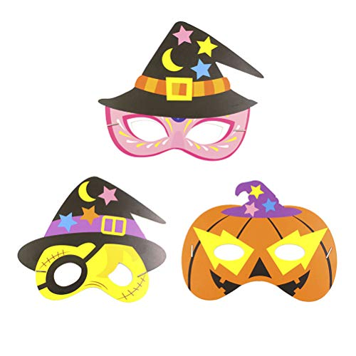 Amosfun Halloween DIY Cartoon Masker Schattig Schattig Papier Masker Kids Dress-Up Kostuum Accessoire 12 stks