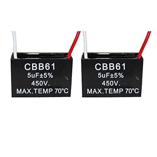 CompStudio 2Pcs 5UF 450V AC CBB61 Ceiling Fan Capacitor 2 Wire 50/60Hz