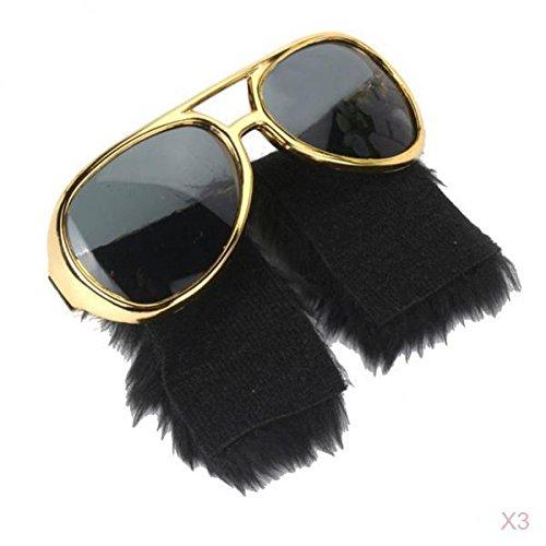 joyMerit 3 Piezas Novedad Grandes Bigotes Laterales Gafas de Sol Gafas de Los años 70 Accesorios para Disfraces de Discoteca
