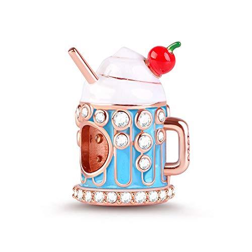 GNOCE EIS Form Charm Perlen Sterling Silber Dessert for Sweet Life Dangle Charms mit Zirkonia fit für Armband/Halskette