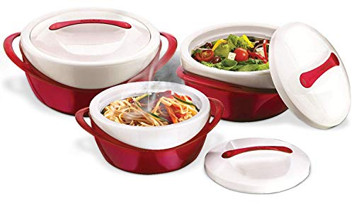 Pinnacle Insulated Casserole Dish with Lid 3 pc. set 2.6/1.25/.6 qt. Elegant Hot Pot Food Warmer/Cooler - Large Thermal Soup/Salad Serving Bowl- Stainless Steel –Best Gift Set for Moms –Holidays Red