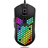 SZXCX Ratón para Juegos con Carcasa de Nido de Abeja Hueca M5 Ratones con Cable de luz retroiluminada de Colores con 7 Botones Computadora de Juegos - Negro