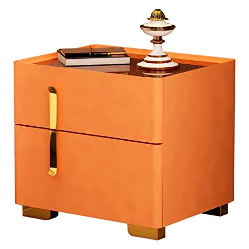 XIAOQIU Mesa Auxiliar Gabinete de Noche Moderna Simple de Gabinete de Almacenamiento de Noche Dormitorio Gabinete Europea Gabinete de Almacenamiento de Noche Mesa para Sofá (Color : Orange)