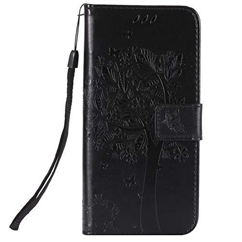 Ysimee Coque LG G7 ThinQ, Étui Portefeuille LG G7 ThinQ Housse Folio à Rabat en Cuir Wallet Case avec Porte Carte Fonction Support Fermeture Magnétique Pliant Livre Coque de Protection,Noir