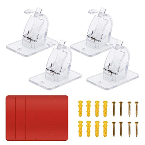 Soportes de barra ajustables sin clavos, soporte de barra para colgar cortina autoadhesiva, soporte de gancho para cortinas de fijación, soporte para barra de fijación (tamaño: 4 piezas)