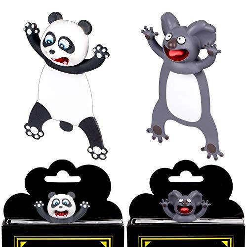 Whaline 3D Cartoon Animal Bookmark 2 Pieces Squashed Land Animals Bookmark Wacky Bookmark Palz, Cute Book Mark Panda Koala Cute Reading Bookmark Back to School Gift for Kids Students