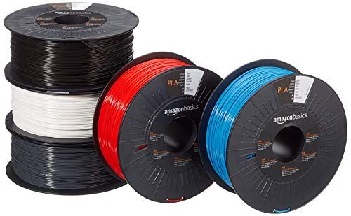 Amazon Basics - Filamento para impresora 3D, ácido poliláctico (PLA), 1.75 mm, 5 cintas de 1 kg cada una, 5 colores diferentes