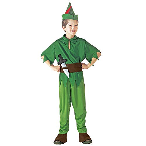 WIDMANN 38065 – Disfraz infantil de Peter, capa, pantalón con botas, cinturón con toldo, sombrero con pluma, carnaval, fiesta temática, multicolor, 116
