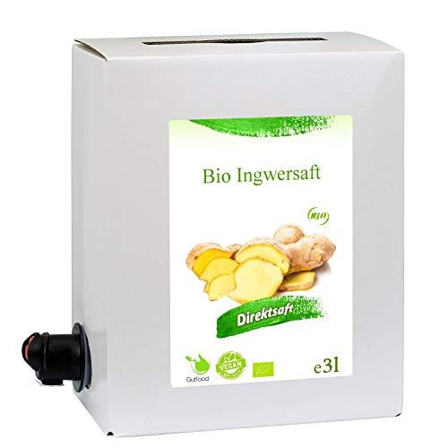 3 Liter Bio Ingwersaft - 3 Monate Bio Ingwer Saftkur - ökologischer Ingwer Saft in Premiumqualität in der praktischen 3 Liter Bag in Box Saftbox - nach Anbruch ungekühlt 3 Monate haltbar